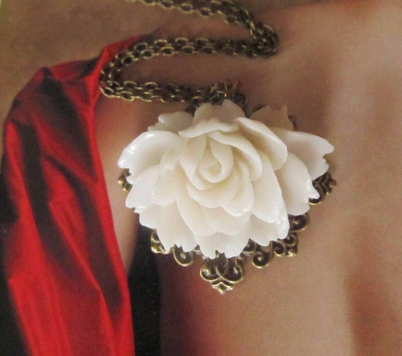 Off White Resin Flower Necklace,  Feminine Pretty, antique brass setting, Great Gift