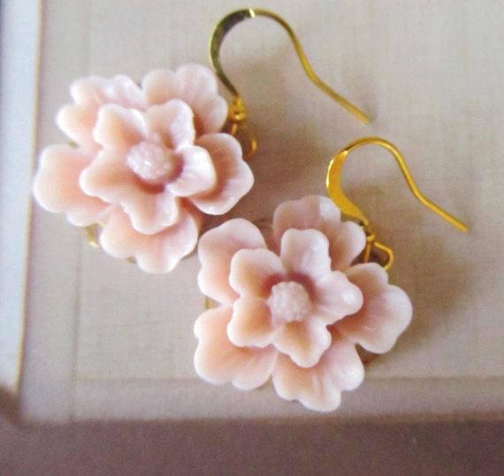 Romantic floral pink earrings