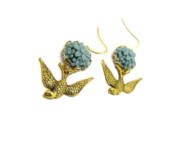 Brass Bird with Blue resin flower  Earrings, adorable and pretty, great gift, , feminine pretty