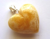 Baltic Amber Milky Butterscotch Heart Pendant set in Silver