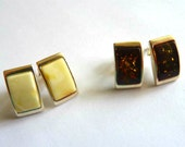 Baltic Amber Stud Earrings Butterscotch or Cognac 925 Silver