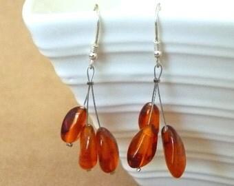 "Baltic Amber Cognac Nuggets Earrings 2"" 925 silver"
