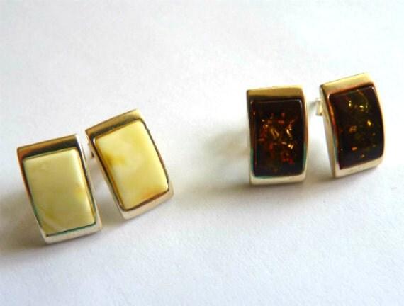 Baltic Amber Stud Earrings Butterscotch or Cognac 925 Silver