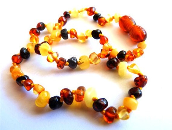 Baltic Amber Baby Teething Necklace Multicolor Natural