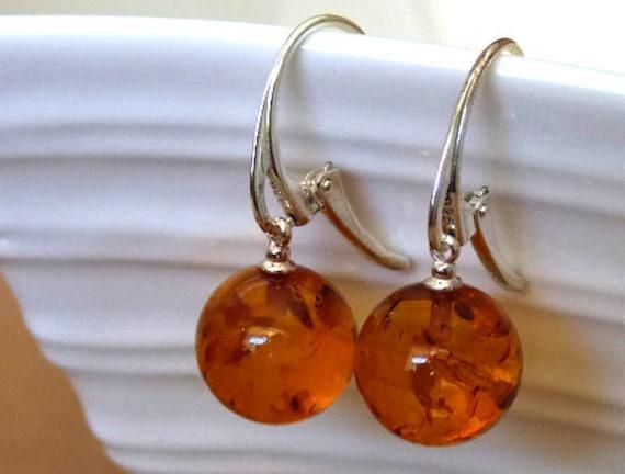 Baltic Amber Cognac Ball Earrings 925 Silver