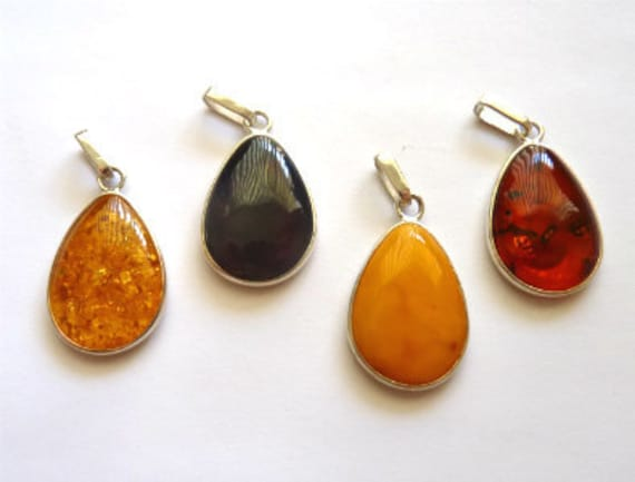 Baltic Amber Pendant Sparkling Yellow, Cherry, Yolk or Cognac  925 Silver