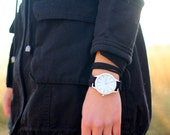 Custom Black Suede Bracelet Watch with White Contemporary Interchangeable Face