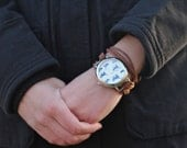 Brown Suede Bracelet Watch with Cat Print Interchangeable Face