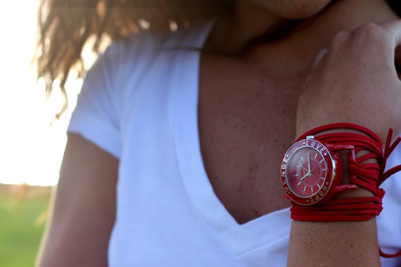 Red Suede Bracelet Watch with Red Inspirational and Interchangeable Face