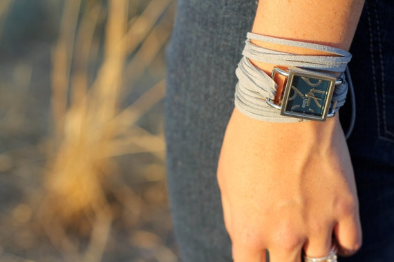 Gray Suede Bracelet Watch with Small Navy Interchangeable Face