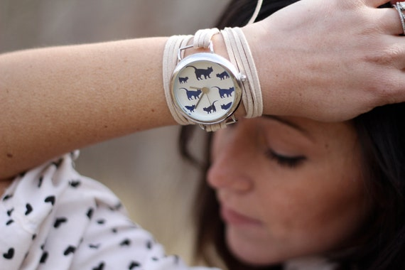 Tan Suede Bracelet Watch with Cat Print Interchangeable Face