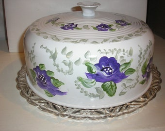 Chic Handpainted,Cake Carrier with glass Cake Tray