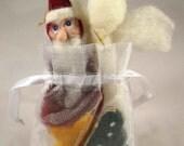 Christmas Ornaments needle felted, Set of 4, Santa, Angel, Tree, Star