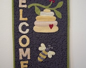 Quilted Wall Hanging AND candle mat, Wall Hanging, Door Banner,Quilt, Welcome, Country Decor, Garden Decor, Door hanger, Bumble Bees