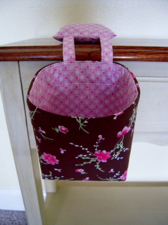 Thread Catcher Pin Cushion Breast Cancer Ribbons Pink and Brown