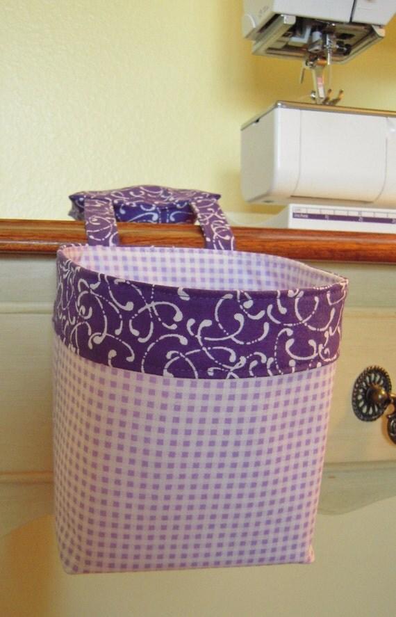 Thread Catcher, Scrap Caddy, Scrap Bag, Pincushion - Purple Checked