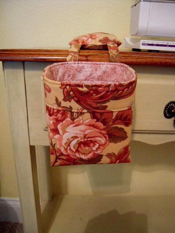 Thread Catcher, Scrap Caddy, Scrap Bag, Pincushion - Pink Rose