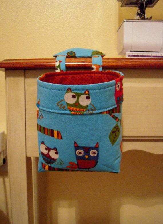 Thread Catcher, Scrap Caddy, Scrap Bag, Pincushion, Owls, blue