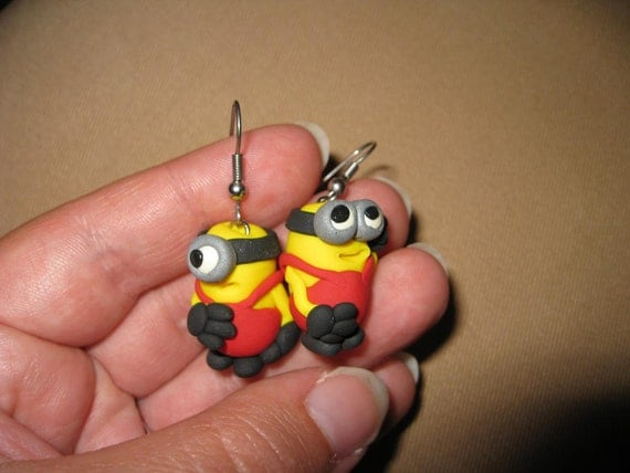 Minion Earrings with Red Overalls