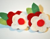 Pretty in Red and Snow White Flower felt hair clips