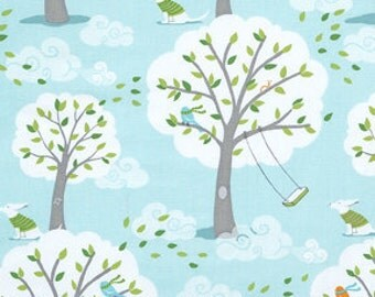 Michael Miller Backyard Baby Fabric, Windy Day in Aqua, 1 yard