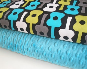 """Minky Blanket Kit in Groovy Guitar in Lagoon, Complete Kit to Make a Baby Blanket (28""""x34"""") PDF Pattern Included"""