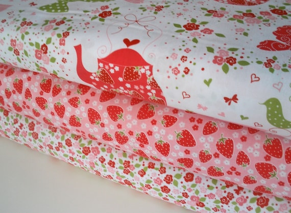 Strawberry Tea Party Fabric 1 yard bundle, 3 prints, 3 yards total