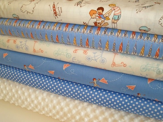 Michael Miller and Minky Fabric Bundle in Children at Play, Complete Kit to Make a Patchwork Minky Baby Blanket, PDF Pattern Included