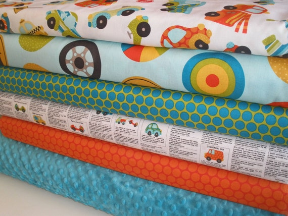 Riley Blake and Minky Fabric Bundle in Peak Hour, Complete Kit to Make a Patchwork Minky Baby Blanket, PDF Pattern Included