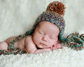 Soft Homespun Pom Earflap Hat Choose your color and your size