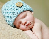 Baby boy Hat | Newborn Beanie with Hand Made Wooden Button | Crocheted Blue boy hat |  - many colors available