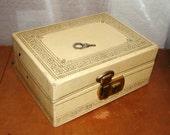 Vintage 70s Jewelry Box Ivory Cream Gold Script Edges Brass Lock KEY MELE Likely Blue Satin Velour Interior Women Mirror