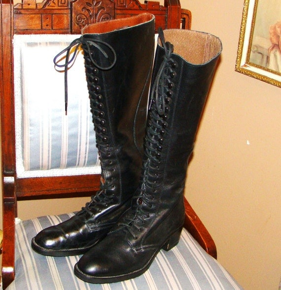 Vintage 70s Victorian Style Leather Lace Up Tall Boots Black SZ 38 7.5