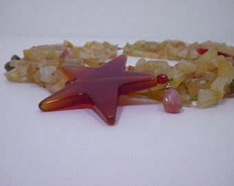 Citrine Tourssade with Carnelian Stars