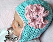 Baby Earflap Hat Crochet Pattern with Ruffled Rose and Flippy Floppy