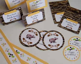 Party Printables: Bear Picnic Party with Thank you, Toppers, Bunting and More (Editable Text) (PDF INSTANT DOWNLOAD)