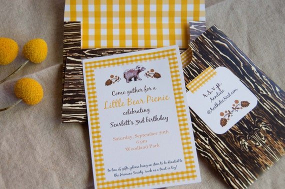 Little Bear Picnic Party: Party Printables (Editable Text) with Invitation, Toppers, Bunting and More (PDF INSTANT DOWNLOAD)