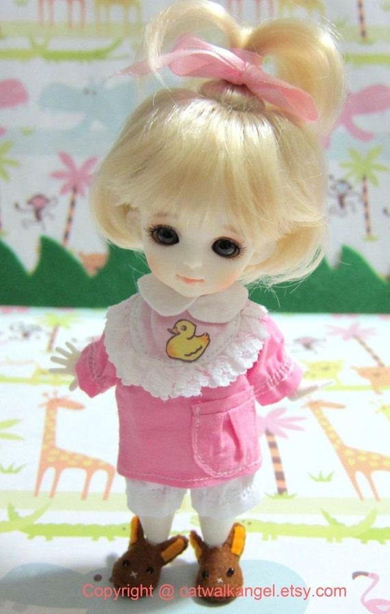 Lati / PUKIFEE Outfit Set --- Kawaii Pink Duck Shirt and Shorts for Lati Yellow doll / PUKIFEE
