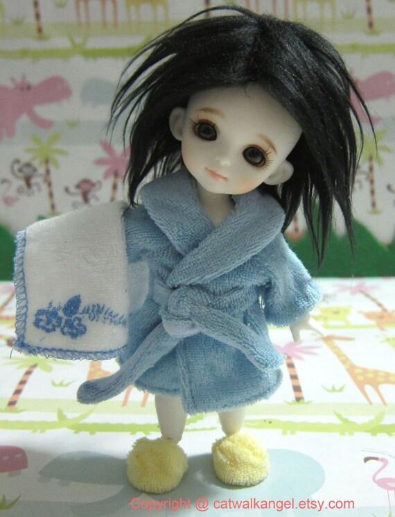 Lati / PUKIFEE Bathrobe Set --- Blue Bathrobe, Yellow slipper and bath towel for Lati Yellow doll / PUKIFEE