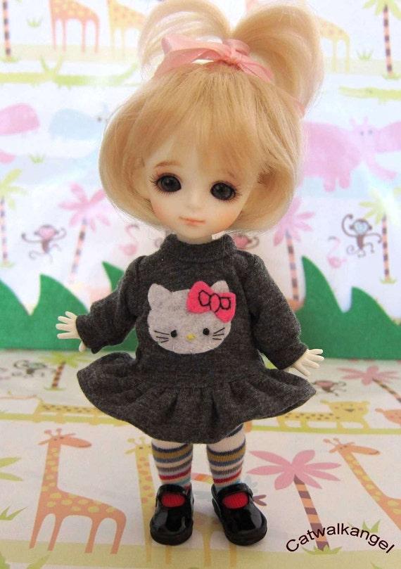 Lati / PUKIFEE dress --- Long Sleeves grey  dress for Lati Yellow doll / PUKIFEE