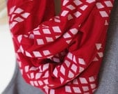 INFINITY SCARF - Screen Printed - White Diamonds on Red