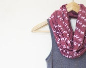 INFINITY SCARF - Screen Printed - White Triangle Shapes on Mauve