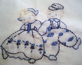 SALE. Dutch Dolls Kitchen Towel Hand Embroidered.