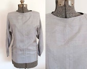 80s TAHARI Silk Stripe Lavender and Grey Shimmer Blouse(S, M)