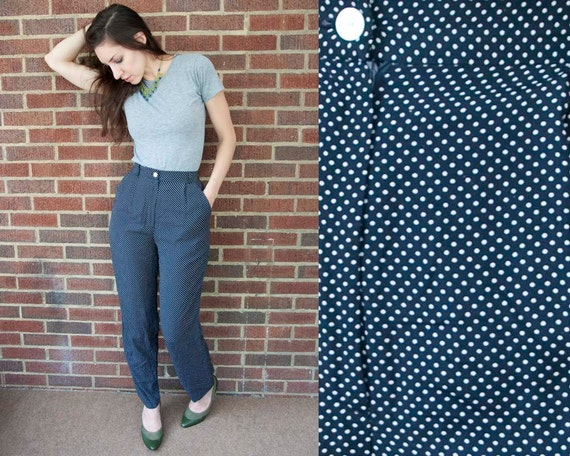 80s Vintage Navy Polka Dot Pleated Rayon Pants. Tapered Leg. High Waist (XS, S)