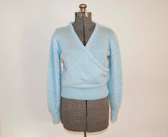 70s Vintage Honeycomb Baby Blue Wrap Sweater (M, L)