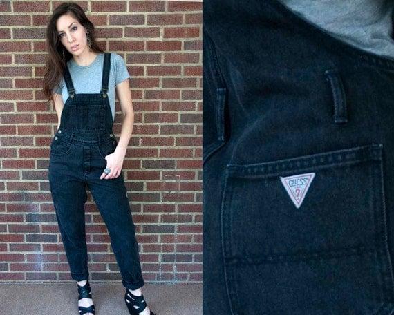 80s Vintage GUESS Black Denim Overalls (S)