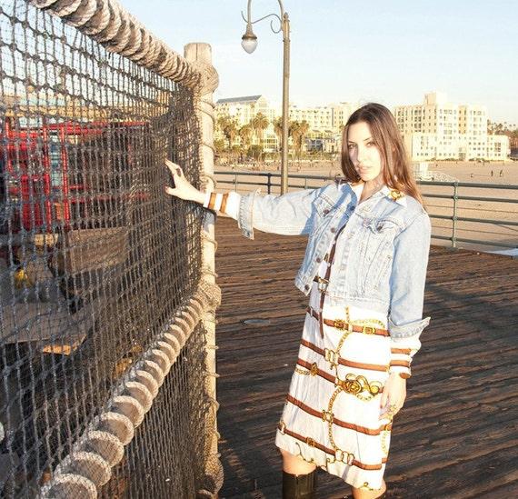 Vintage 70s Designer Chains and Belts Print Shirt Dress (S)