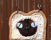 handmade breaded siamese cat polymer clay necklace OOAK