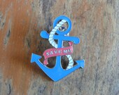 Blue Anchor Brooch